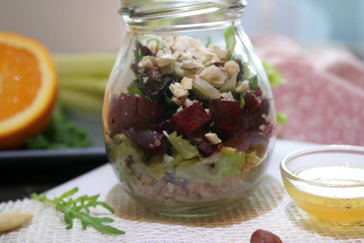 Rote Bete Salat mit Buchweizen vegan